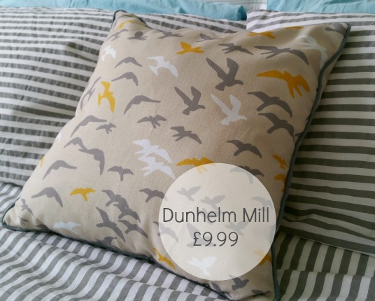 Dunhelm Mill yellow flock of birds cushion