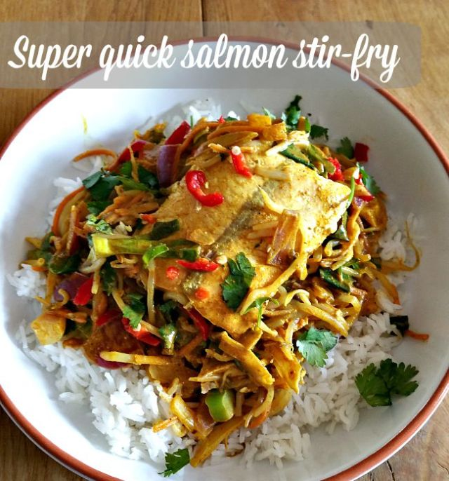 super-quick salmon stir-fry